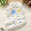 Ballena de impresión Mar Estrella Del Partido Conjuntos de Ropa de Bebé Nueva Primavera Diseño para Niños Niñas 2017 Ropa Edad 2 3 4 5 Años Pijamas