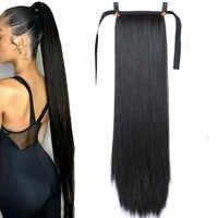 """JINKAILI 85 cm 32 """"Super Long Clip droit en queue faux cheveux queue de cheval postiche avec épingles à cheveux synthétique Extensions de queue de poney"""
