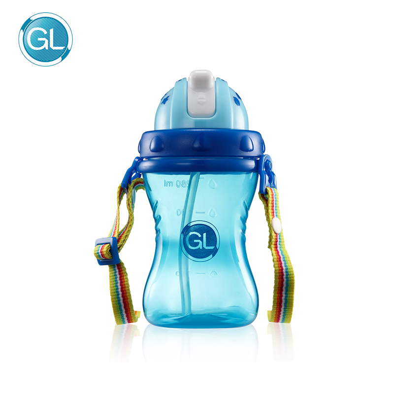 GL 280ML Kids Drinking Cup Baby Non-toxic Bottles Child Training Drink Bottle Feeding with Adjustable Belt Portable & Anti-slip