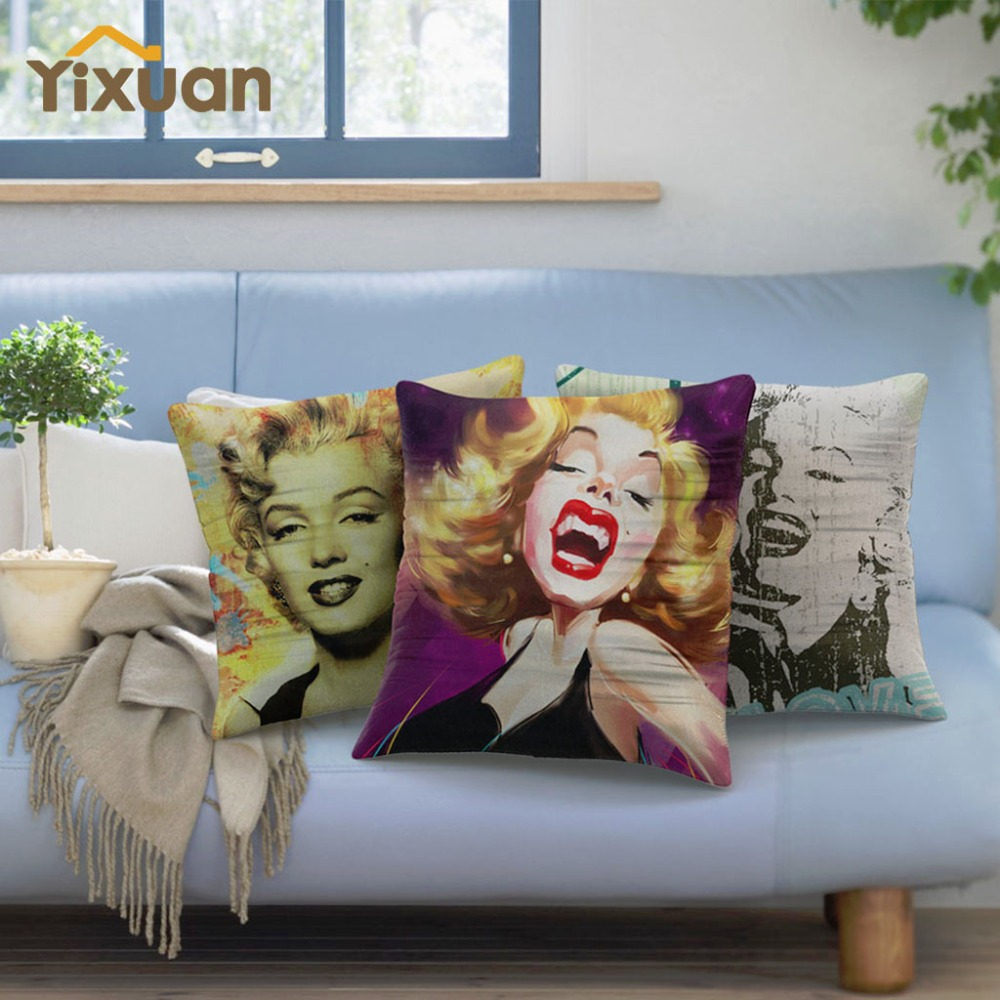 Marilyn monroe french chair - Marilyn Monroe Linen Cushion Cover Sofa Bed Home Car Decor Square Pillowcase Cover 43cmx43cm 1 Pcs