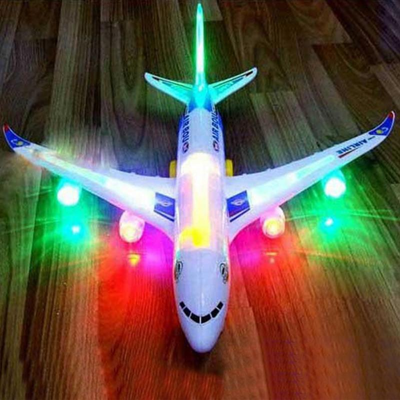 Hot New Airplane Toys Electric Airplane <font><b>Plane</b></font> Model Moving Flashing Lights Music Sounds Kids Toy DIY Gift Automatic Steering image