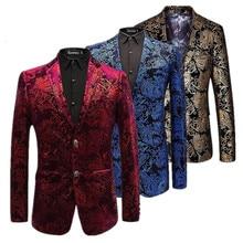 Kadife gümüş Blazer erkekler Paisley çiçek ceketler şarap kırmızı altın sahne takım elbise ceket zarif düğün erkek Blazer artı boyutu M 6XL