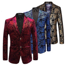 Velvet Silver Blazer Men Paisley Floral Jackets Wine Red Golden Stage Suit Jacke