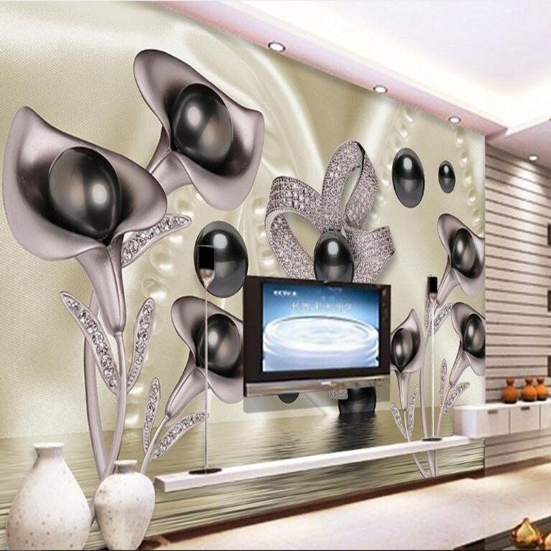 beibehang Custom large - scale murals 3d Calla lily butterfly water wave reflection TV background wall non - woven wallpaper