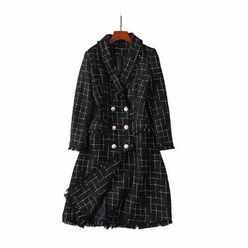 Новый стильный 2018 дизайнер мишура пальто Женская двубортный Лев пуговицы плед