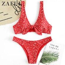 ZAFUL Print Flower Sexy Bikinis Women Push Up Swimsuit Bikini Set Bandage Swimwear Yellow Thong Bathing Suit 2019 Swimming Suit