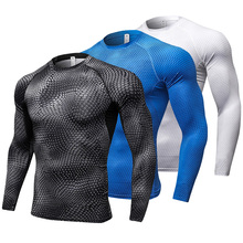 New Long Sleeve Sport Shirt Men Quick Dry Men's Running T-shirts Snake Gym Clothing Fitness Top Mens Rashgard Soccer Jersey