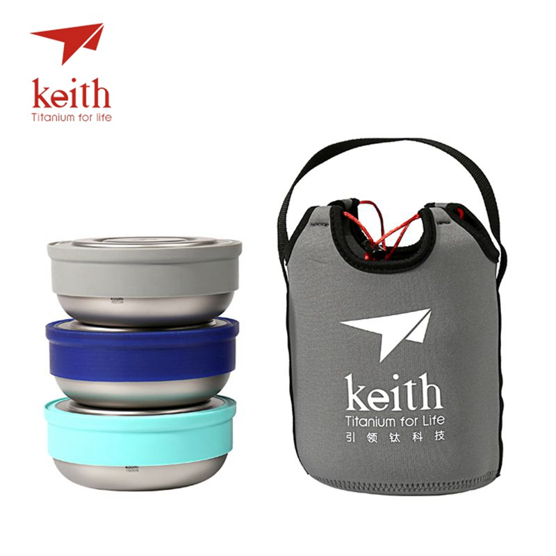 Keith Titanium Lunch Boxes Set 3 Pcs In 1 Outdoor Camping Ultralight Bowl With Lid Picnic Fresh Food Keeping Boxes Ti5378 keith double wall titanium beer mugs insulation drinkware outdoor camping coffee cups ultralight travel mug 320ml 98g ti9221