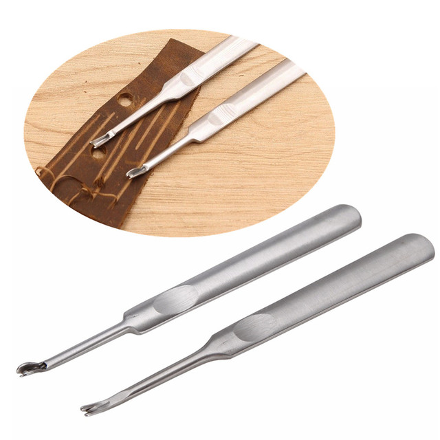 2pcs Durable Beveler U+V Leathercraft Stitching Tool Stainless Steel Leather Edge Skiving Cutting Trimming Groover Mayitr
