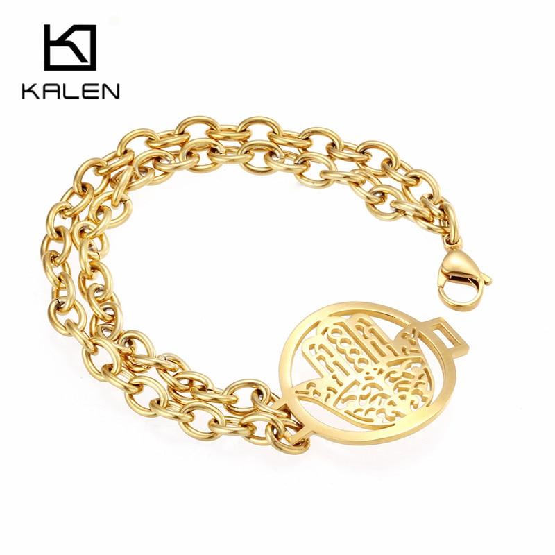 Kalen Brand Jewelry Gold Color Hamsa Hand Charm Bracelets Stainless Steel Fatima Hand Ethnic Bracelets For Women Christmas Gifts