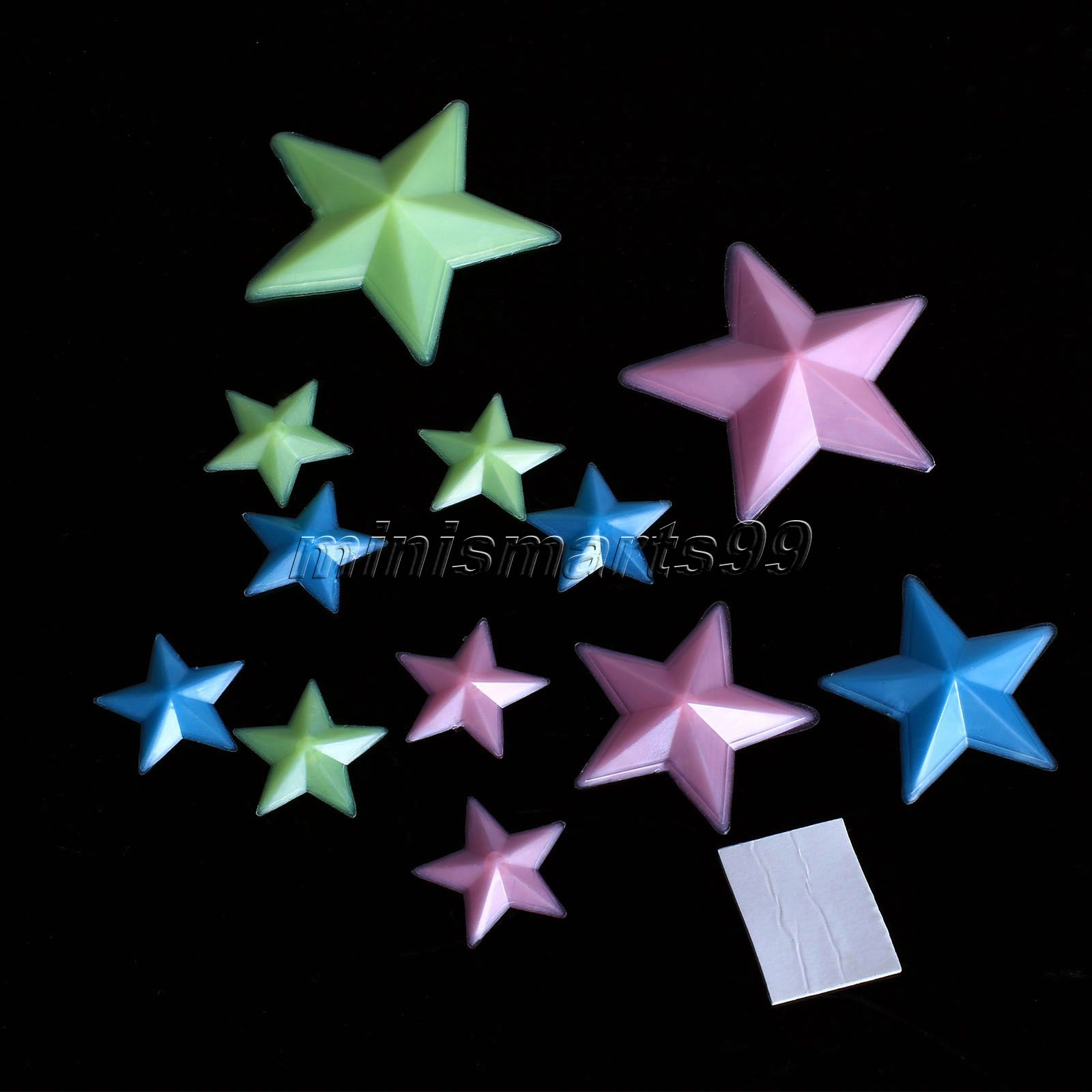 Plastic 3D Stars Wall Sticker Home Decor Glow In The Dark Luminous Fluorescent Wall Decals Baby Kids Bedroom Nursery Decals 12pc