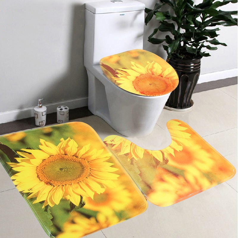 3 PCs/ Set Bathroom Non Slip Yellow Sunflowers Style Pedestal Rug + Lid  Toilet Cover + Bath Mat Gifts Material