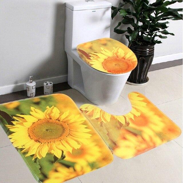 3 Teile/satz Bad Rutschfeste Gelbe Sonnenblumen Stil Sockel Teppich ...