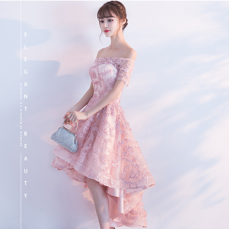 PotN\'Patio High Low Homecoming Dresses Pink Off The Shoulder Lace ...