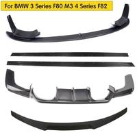 For M3 M4 Carbon Fiber Bodykit for BMW F82 M4 F80 M3 Body kit Rear Diffuser Rear Trunk Spoiler Front Lip Side Skirt