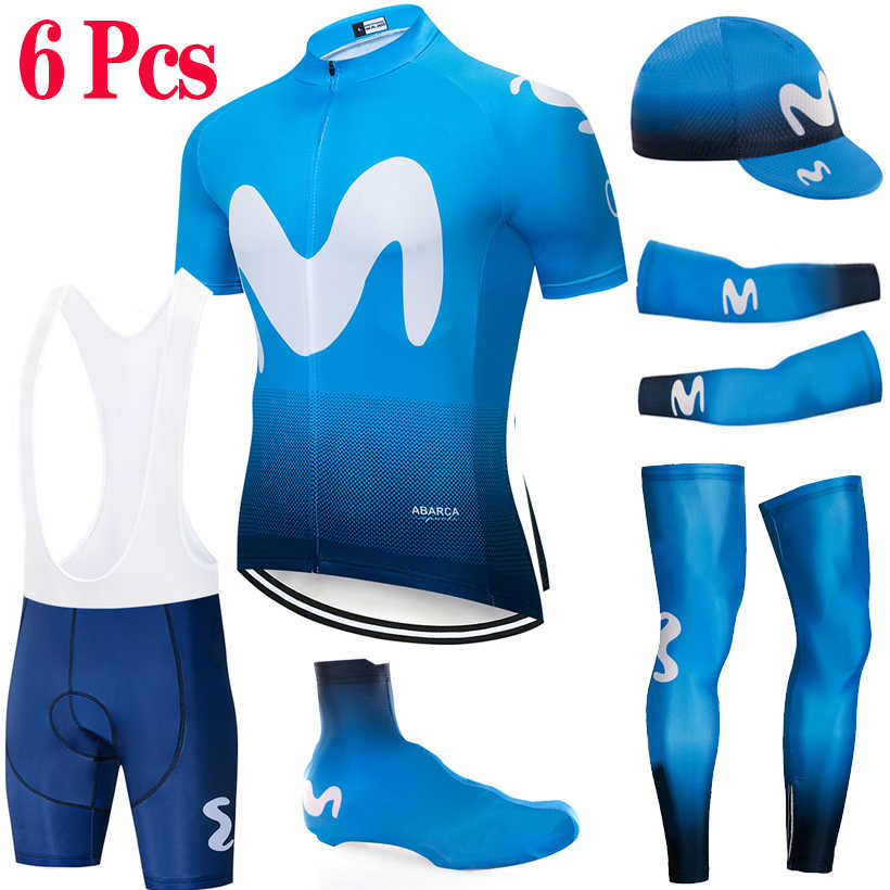 2019 Movistar Cycling Full set 6pcs Bike jersey Quick Dry Men Ropa Ciclismo clothes Caps shoe covers bike shorts arm leg warmers