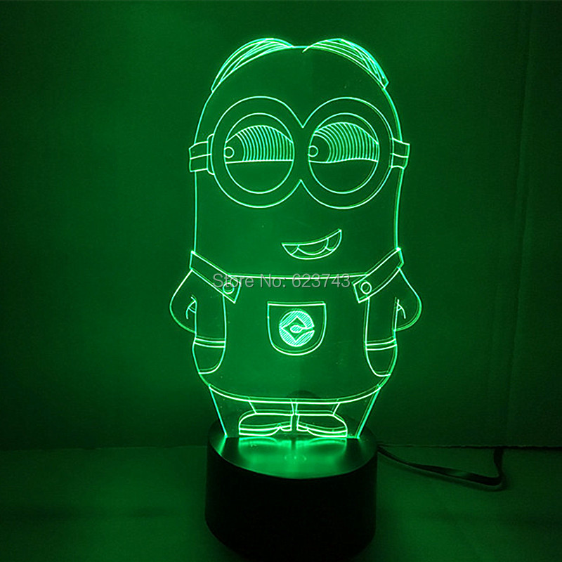 6pcs/lot 7 Color changing Cartoon Despicable Me Minions 3D Acrylic LED Night Light with USB table Lamp of lamparas 3d led acrylic 7 color changing usb charge 3d