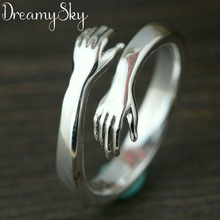 Bohemian Vintage Silver Color Hand Rings For Women Punk Big Antique Open Rings Rings