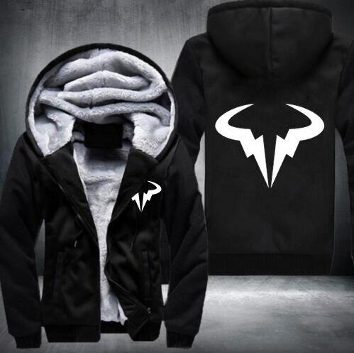 ef89e16489c4c Winter Hoodie Mens Rafael Nadal Natto Thicken Fleece Coat Bull Logo Printed Zipper  Jacket sweatshirt US EU Size