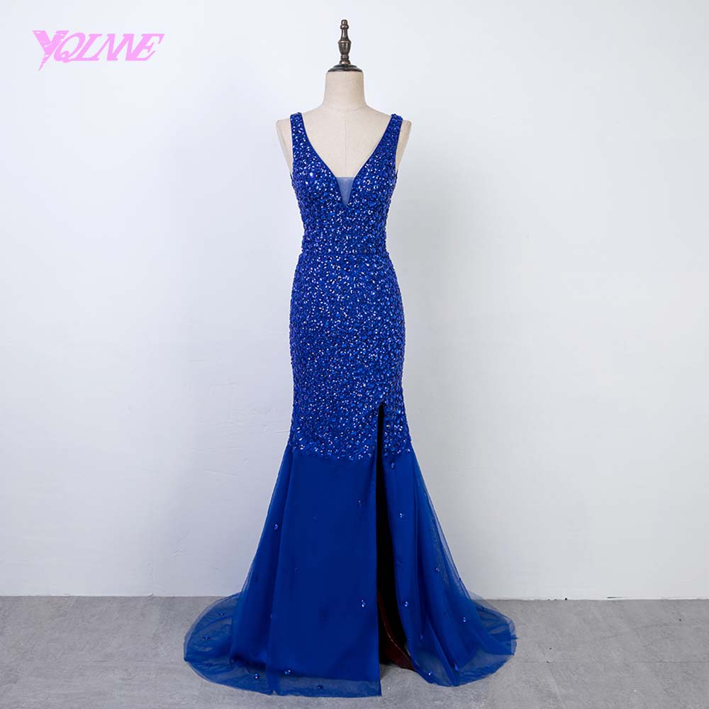 YQLNNE Vestido De Festa 2018 Royal Blue Rhinestones Long Mermaid   Prom     Dresses   V Neck Tulle Evening Party   Dress