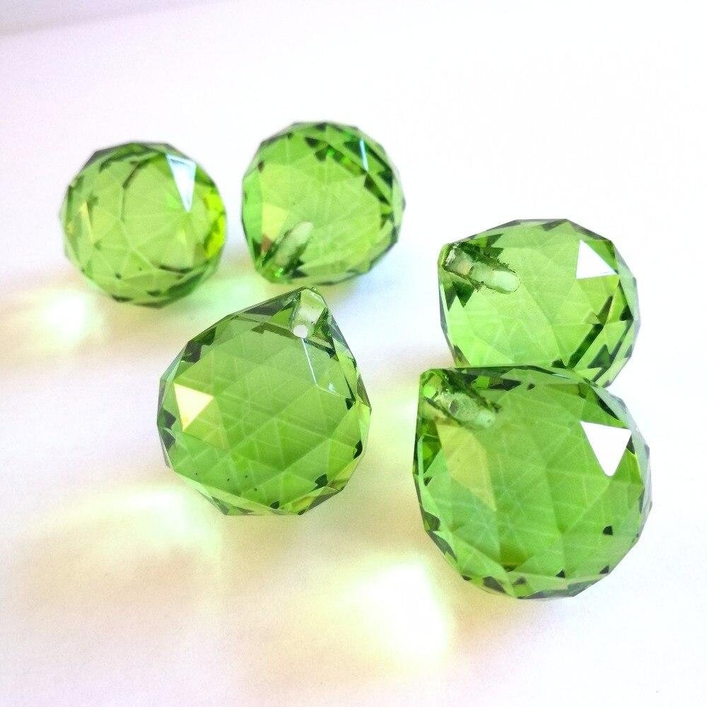 Light green 20mm 30pieces Glass Faceted Ball Glass Chandelier Prism Ball Quartz Crystals For Home & Garden