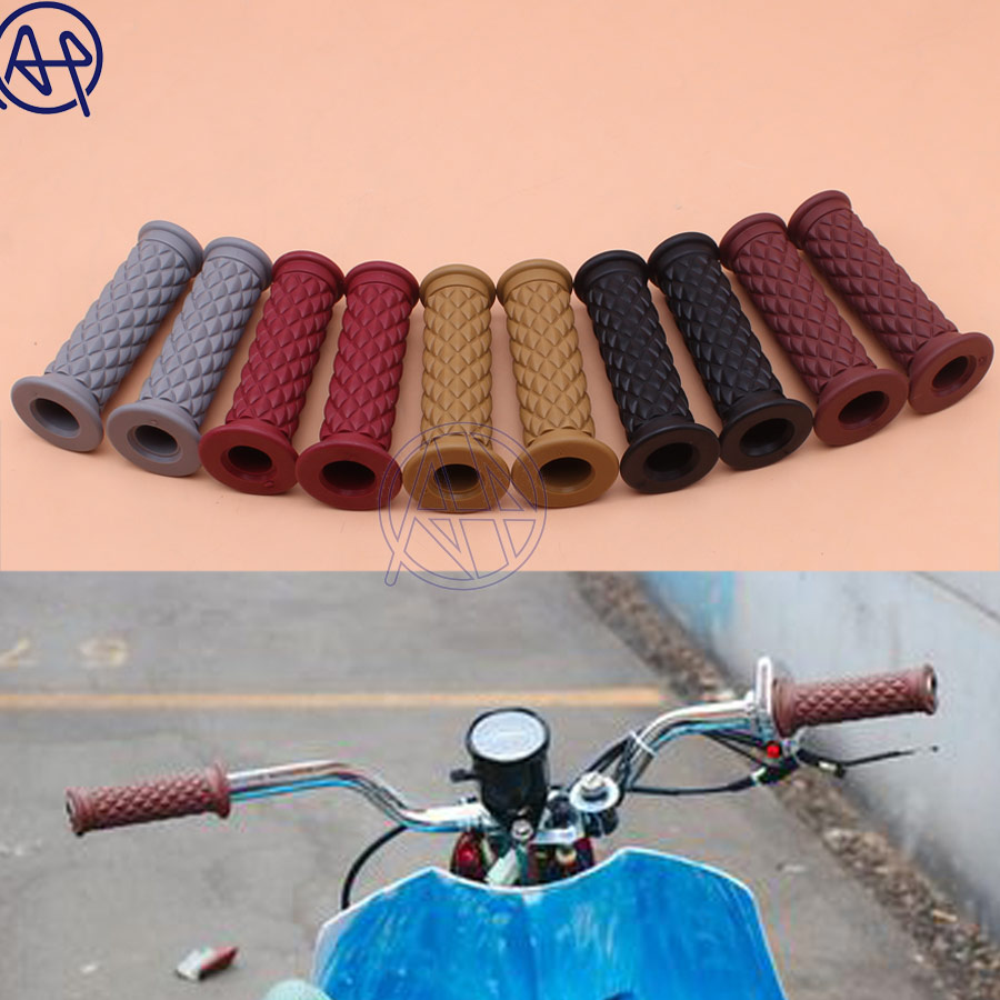 Motorcycle 7 8   Retro Vintage Brown Hand Grip Handlebar Grips for Honda Suzuki Kawasaki Triumph Royal Cafe Racer Bobber Custom