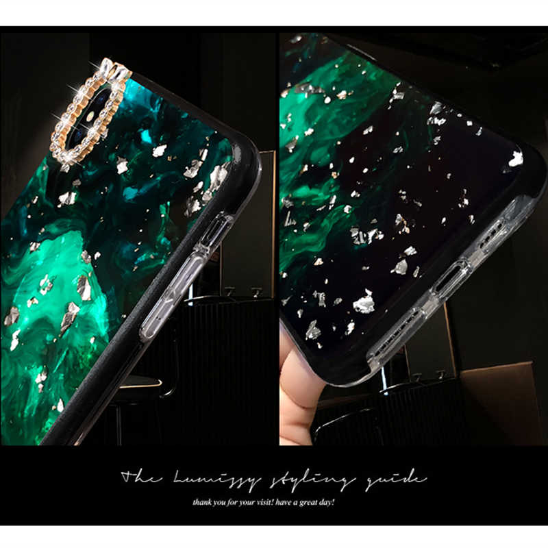 Luxe Marmer Diamanten Vinger Ring Case Voor iPhone 6S 7 8 Plus X XS MAX XR Case Bling Glitter cover Met Pearl Strap Telefoon Ring