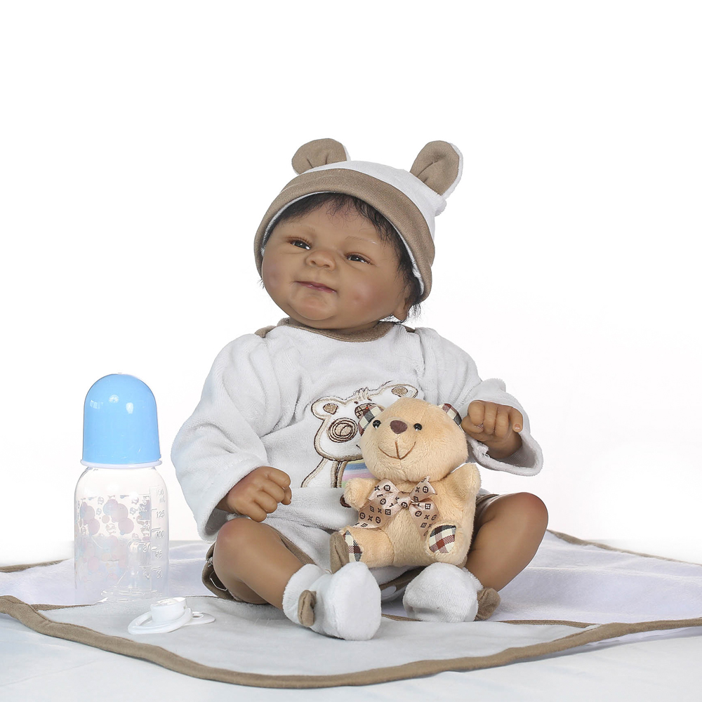 NPK black skin reborn babies dolls 40cm silicone reborn baby dolls for child gift real alive boy bebes reborn bonecaNPK black skin reborn babies dolls 40cm silicone reborn baby dolls for child gift real alive boy bebes reborn boneca