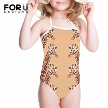 FORUDESIGNS Swimsuit for Girl One-piece Suits Giraffe Kangaroo Printing Children Swimwear 2018 One Piece Swim Suit Monokini Wear