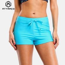 Attraco Swim Trunks Women Bikini Bottom Ban Solid Color Swimwear Briefs Split Bandage Swimming