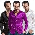 S-3XL de Primavera y verano de los hombres casuales de manga larga camisa de seda de color sólido más el tamaño delgado camisa de seda floja ropa cantante