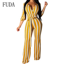 FUDA Sexy Deep V-neck Striped Jumpsuit Autumn Women Half Sleeve Bodycon Playsuit Casual Loose Overalls Combinaison Femme