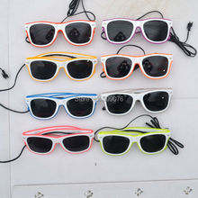 Free Shipping 2pcs/lot sound Voice Activate glasses El Wire Glow Sun Glasses white frame DJ Bright Light Safety Up