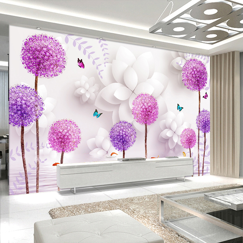 Custom 3D Photo Wallpaper Modern Fashion Pink Dandelion Romantic Flower Art Living Room TV Background Decor Wall Painting Paper
