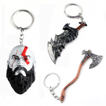 RJ 2019 Hot Game God Of War 4 Keychains 3D Kratos Face Mask Keyring Kui Ye Axe Hammer Knife Weapons Model Men Cosplay Car Gift kratos god of war 4 figure god of war kratos action figures game figure statue pvc collectible model toy