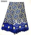Francés tela africana de encaje de alta calidad bordado de encaje neto de con tela de encaje guipur de 5 yardas para dama vestido ZN09