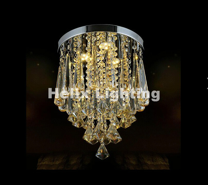 Modern Round LED K9 Crystal Chandelier for aisle / hallway / entrance / dining room ceiling lamp Lighting AC Free Shipping gold color simple brief 5w crystal chandelier led lamp for home aisle meeting room bar cloth shops 5w chandelier 6000k 2800k