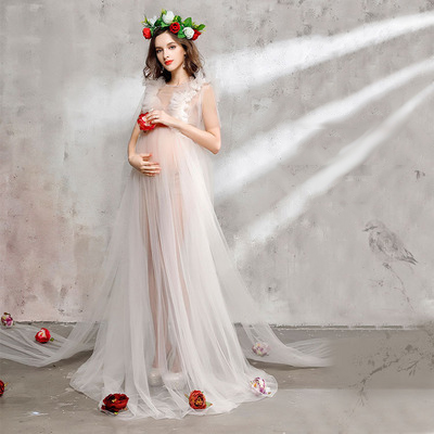 Pregnancy Lace Dress for Photo Shoot Maxi Dress Maternity Photography Props Voile Maternity Gown drawstring cocoon jersey maxi dress