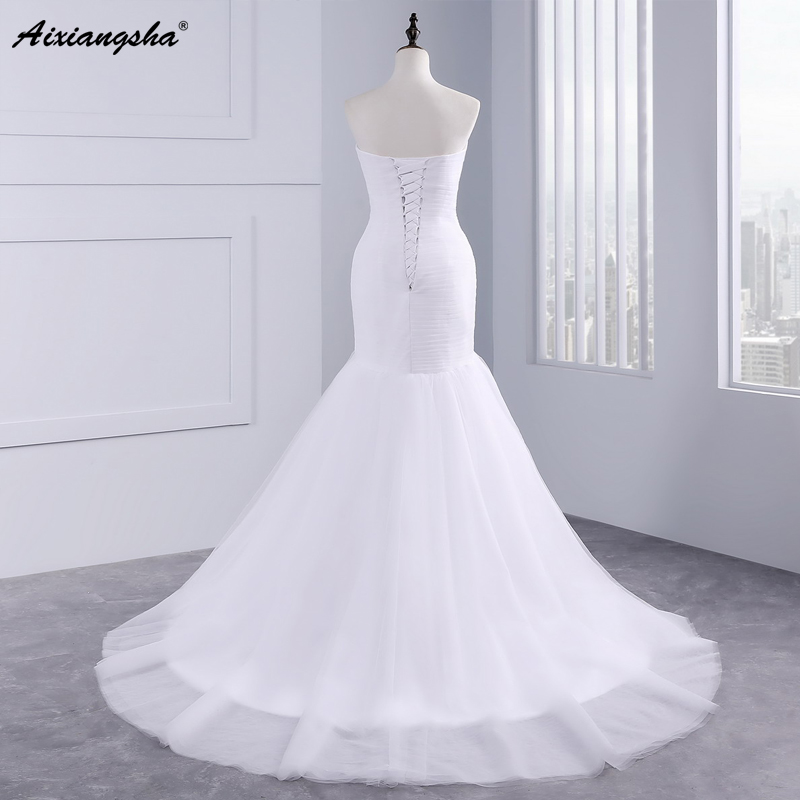 Hot sale floor length pleat cheap wedding dresses tulle robe de mariage Elegant Mermaid wedding dress 2017 3