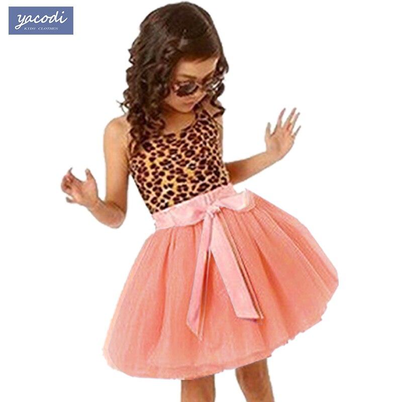New Europe Summer Kids Girl dress Leopard Cotton Girls clothes Princess Dresses tutu party children clothing Girls Dress costume