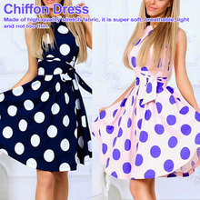 Plus Size for Woman Large Polka Dot neck Short Sleeve Clothing Big Clothes Brief Long Dresses swing dress