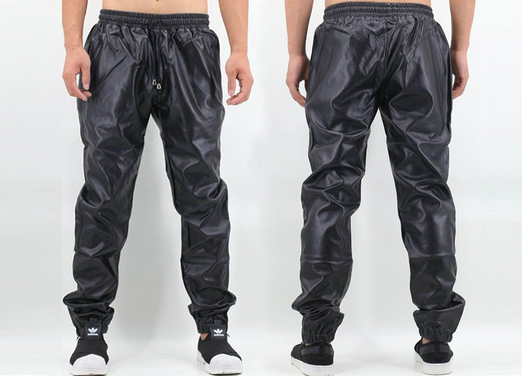 PU Leather Pants Men Elastic Waist Plus Size Side Zipper Hip Hop Leather Trousers Fashion Kanye West Justin Bieber Style Pants (7)