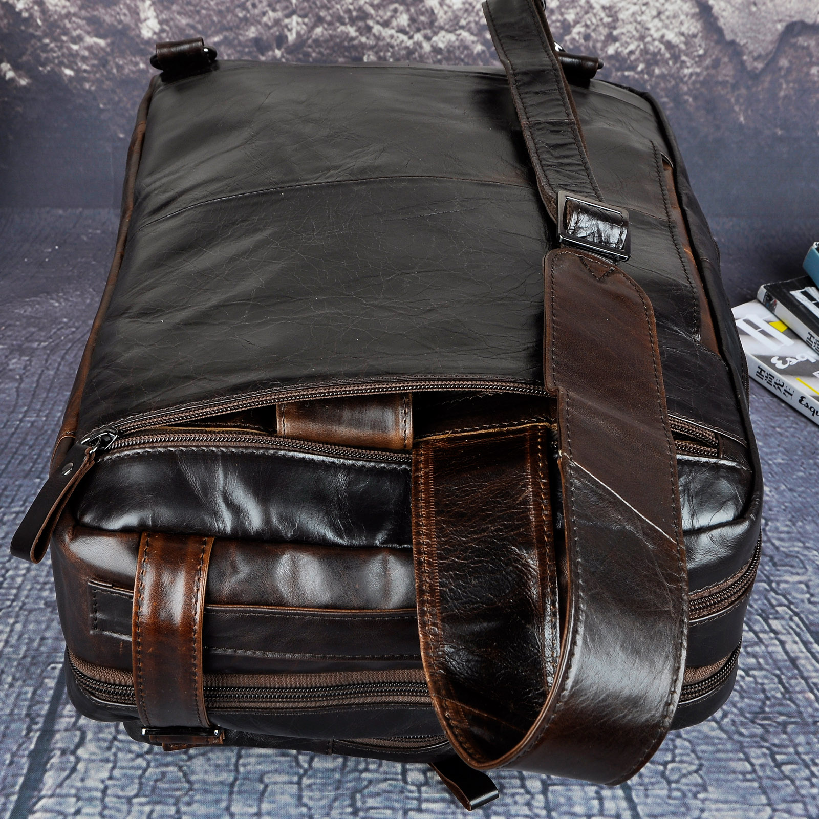 Véritable en cuir véritable mode mallette d'affaires Messenger sac mâle Design voyage ordinateur portable porte-documents fourre-tout portefeuille sac k1013c - 5