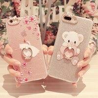 Cute Diamond Finger Ring Rhinestone Phone Case For iPhone 8 Luxury Diamond Jewelled Bear Phone Cover For iPhone 8