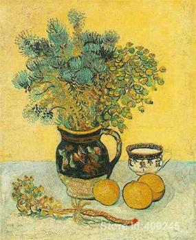 oil reproduction art by Vincent Van Gogh Still Life Majolica Jug with Wildflowers Home decor Hand painted High quality