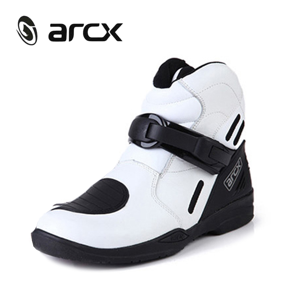 ARCX Genuine Cow Leather Motorcycle Road Racing Shoes Street Moto Chopper Cruiser Touring Biker Motorbike Riding Ankle Boots pro biker mcs 01a motorcycle racing full finger protective gloves blue black size m pair