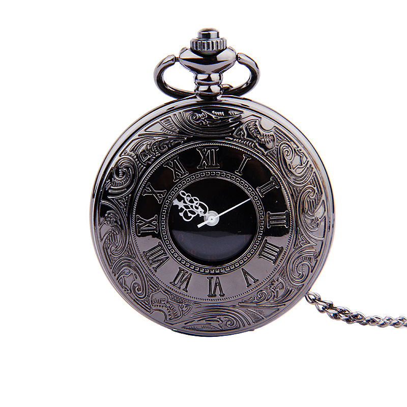 Stylish Black Double Display Roman Scale Retro Black Face White Needle Nostalgic Pocket Watch With Necklace Four Colors