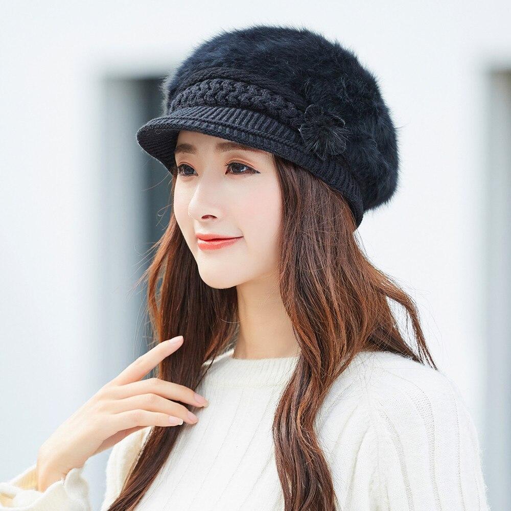 Winter hat women lovely floral cap knitted hat beret baggy beanie hat slouch ski cotton cap 6 colors chapeau femme drop ship