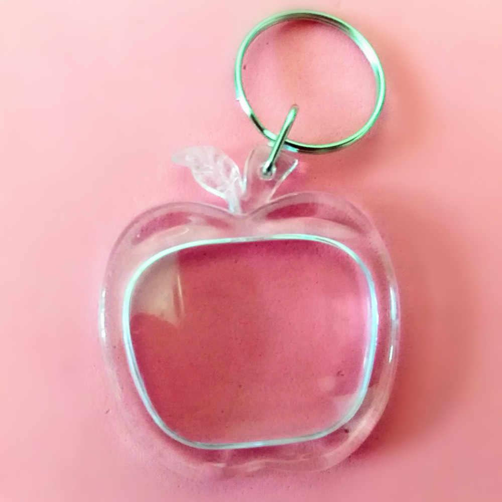 1 шт. два размера Apple Shaped прозрачный пустая Вставка Фото рамка брелок для ключей раздельный брелок