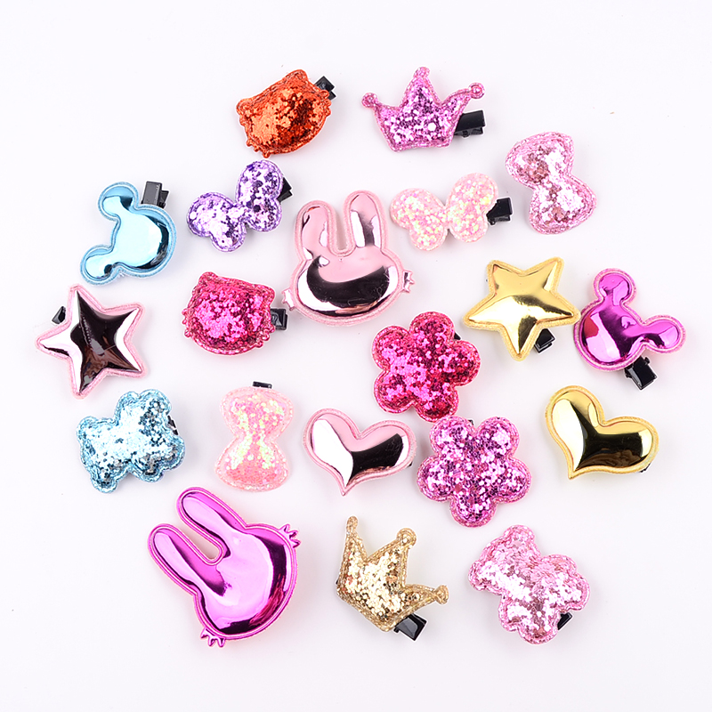 20Pcs/lot Cute Hair Clip PU Hairpin Flower Star Bow Kids Barrettes Girls Cartoon Sparkling Hair Accessories Animals Hairpins полотенца банные spasilk полотенце 3 шт